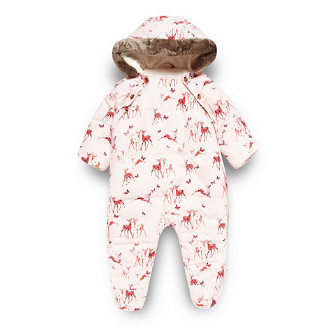 Baker by Ted Baker - Babies pale pink padded deer snowsuit