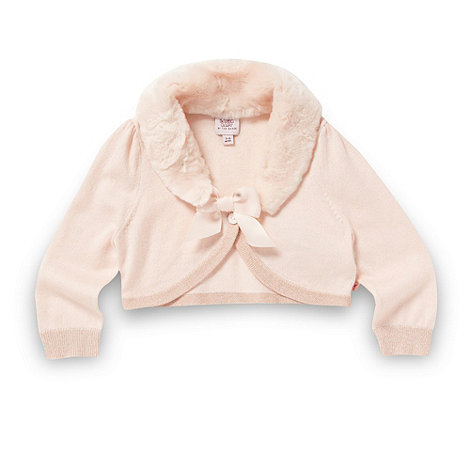 Baker by Ted Baker - Babies pink faux fur collar cardigan