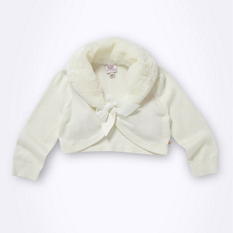 Baker by Ted Baker - Babies cream faux fur collar cardigan