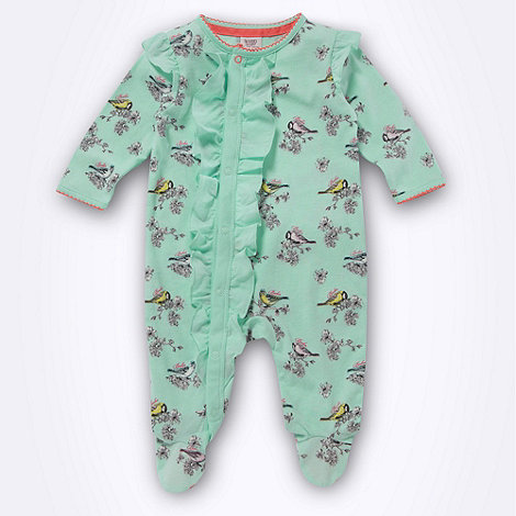 Baker by Ted Baker - Babies green bird printed sleepsuit