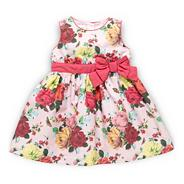Babies pale pink floral party dress