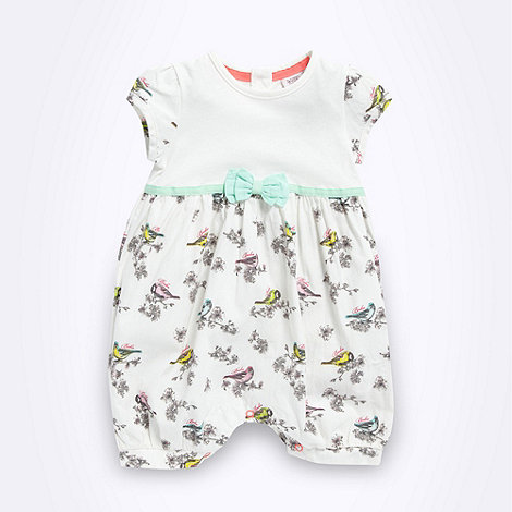 Baker by Ted Baker - Babies cream mixed bird romper suit