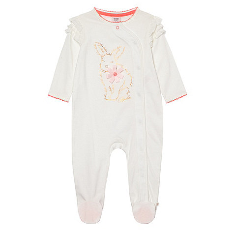 Baker by Ted Baker - Babies cream bunny printed sleepsuit