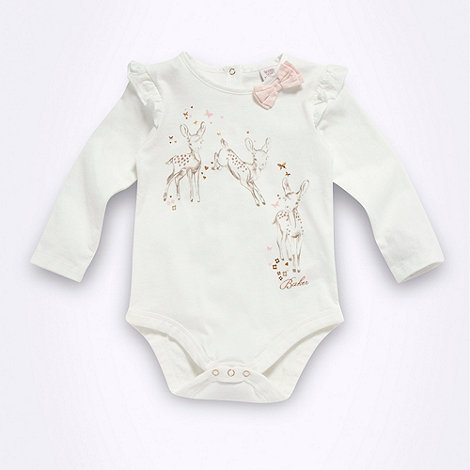 Baker by Ted Baker - Babies off white jumping deer bodysuit