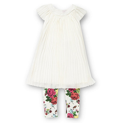 Baker by Ted Baker - Babies cream pleated dress and leggings