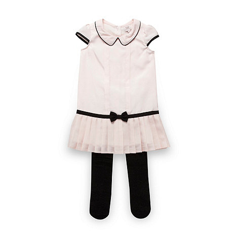 Baker by Ted Baker - Babies pink pleated dress with tights