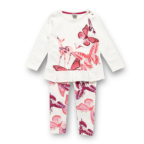 Baker by Ted Baker - Babies cream butterfly printed top and leggings set