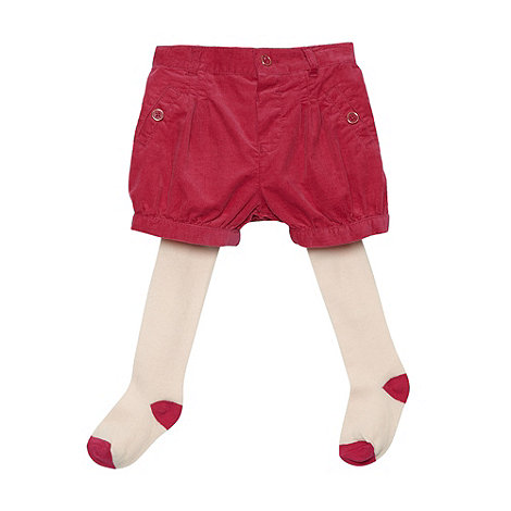Baker by Ted Baker - Babies dark pink cord shorts and tights set