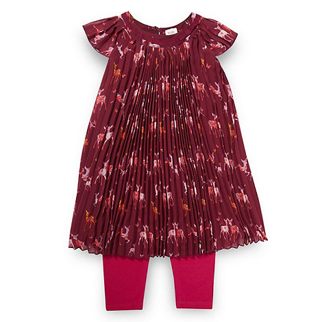 Baker by Ted Baker - Babies dark pink pleated deer dress and leggings