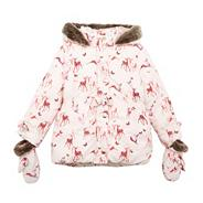 Girl's pink deer printed padded jacket