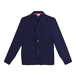 Baker by Ted Baker - Girls' navy frilled front bomber jacket