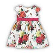 Girl's dark pink rose print dress