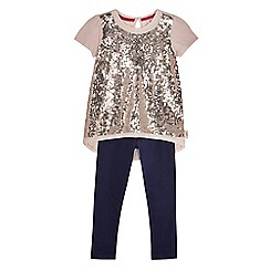 Baker by Ted Baker - Girls' light pink sequin t-shirt and leggings set