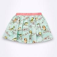Designer girl's green bird patterned skirt