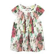 Girl's multi printed pleated top