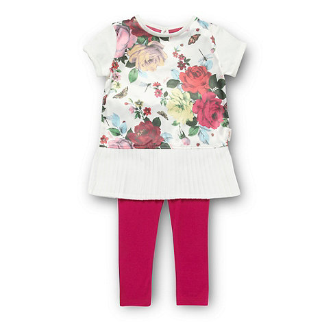 Baker by Ted Baker - Girl+s white floral top and leggings