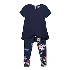 Baker by Ted Baker - Girls' navy high low top and printed leggings set