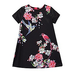 Baker by Ted Baker - Girls' black floral print pleated back shift dress