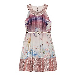 Baker by Ted Baker - Girls' multi-coloured woodland scene sequinned trim belted dress