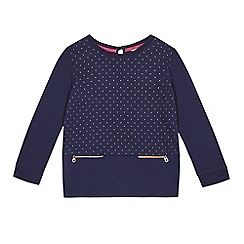 Baker by Ted Baker - Girls' navy spotted quilted hem sweater