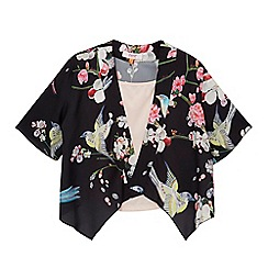 Baker by Ted Baker - Girls' black floral print kimono and light pink cami set
