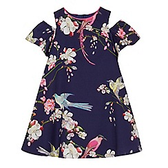 Baker by Ted Baker - Girls' navy floral print cold shoulder dress