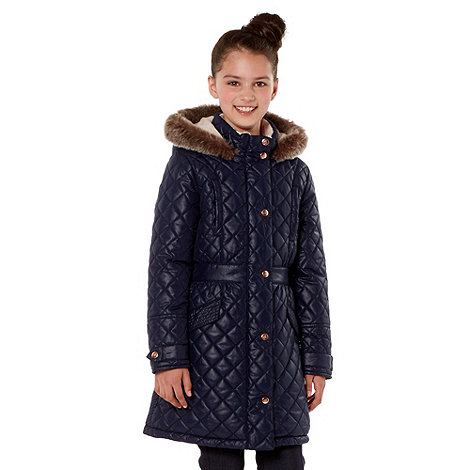 Baker by Ted Baker - Girl+s navy quilted parka