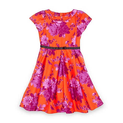 Baker by Ted Baker - Girl+s orange graphic rose dress