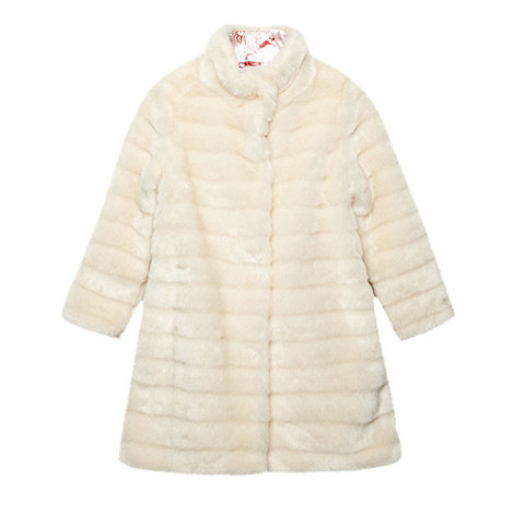 Baker by Ted Baker - Girl+s cream faux fur coat