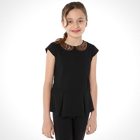 Baker by Ted Baker - Girl+s black sequin collar top