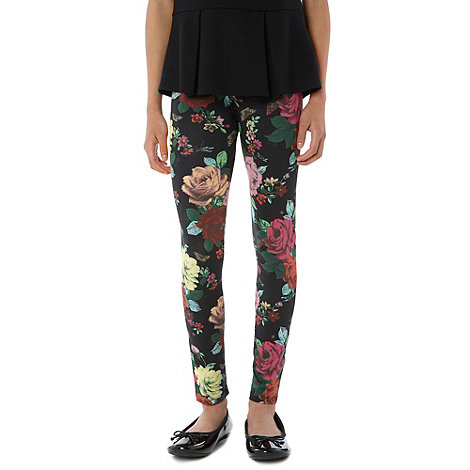 Baker by Ted Baker - Girl+s black floral printed leggings