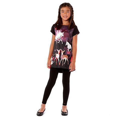 Baker by Ted Baker - Girl+s black printed tunic and leggings set