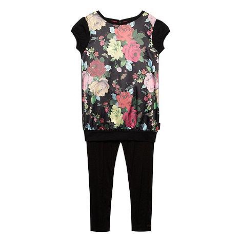 Baker by Ted Baker - Girl+s black floral t-shirt