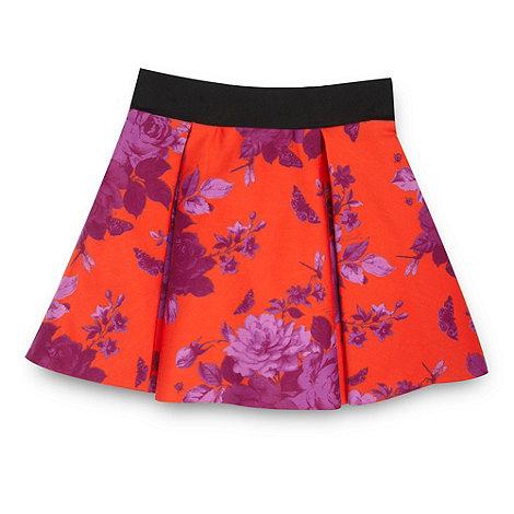 Baker by Ted Baker - Girl+s dark orange rose patterned skirt