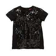 Girl's black sequin panelled top