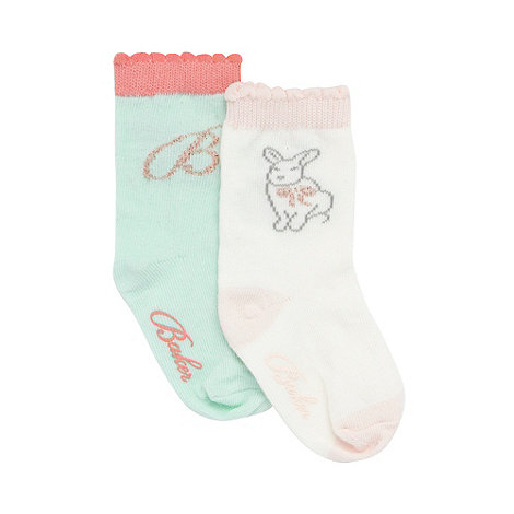 Baker by Ted Baker - Babies pack of two cream and light green logo socks