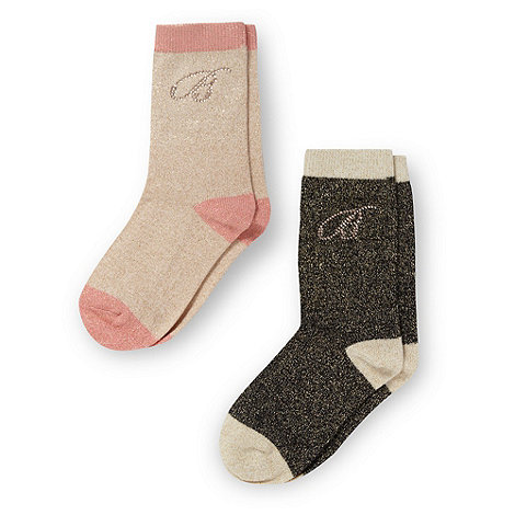 Baker by Ted Baker - Girl+s pack of two gold metallic socks