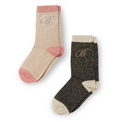 Baker by Ted Baker - Girl+s pack of two gold metallic socks