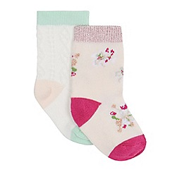 Baker by Ted Baker - Pack of two baby girls' pink and blue printed socks