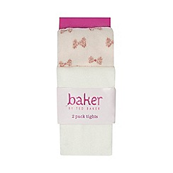 Baker by Ted Baker - Pack of two baby girls' light pink logo embroidered tights