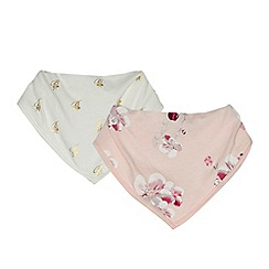 Baker by Ted Baker - Pack of two baby girls' pink and cream printed bibs