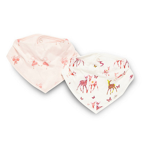 Baker by Ted Baker - Babies pack of two pink ballerina and cream deer dribble bibs