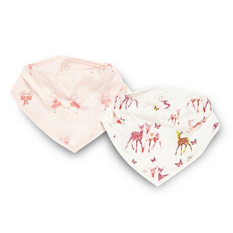 Baker by Ted Baker - Babies pack of two pink ballerina and cream deer dribble bibs