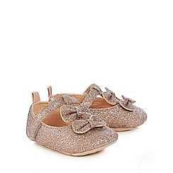 Baker by Ted Baker - Baby girls' pink glitter t-bar ballet pumps