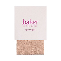 Baker by Ted Baker - Girls' light pink logo embroidered tights