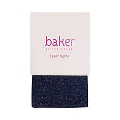 Baker by Ted Baker - Girls' navy logo embroidered tights
