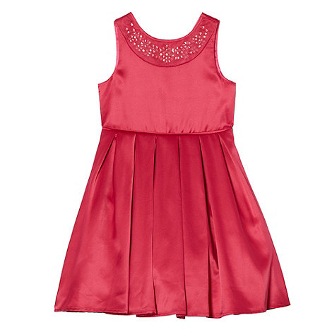 Baker by Ted Baker - Girl+s dark pink satin bow dress