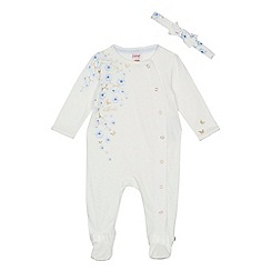 Baker by Ted Baker - Baby girls' white floral print sleepsuit and headband set