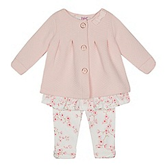 Baker by Ted Baker - Baby girls' pink quilted mock jacket and floral print leggings set