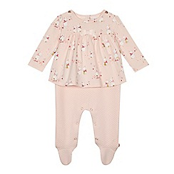 Baker by Ted Baker - Baby girls' light pink bunny print mock romper